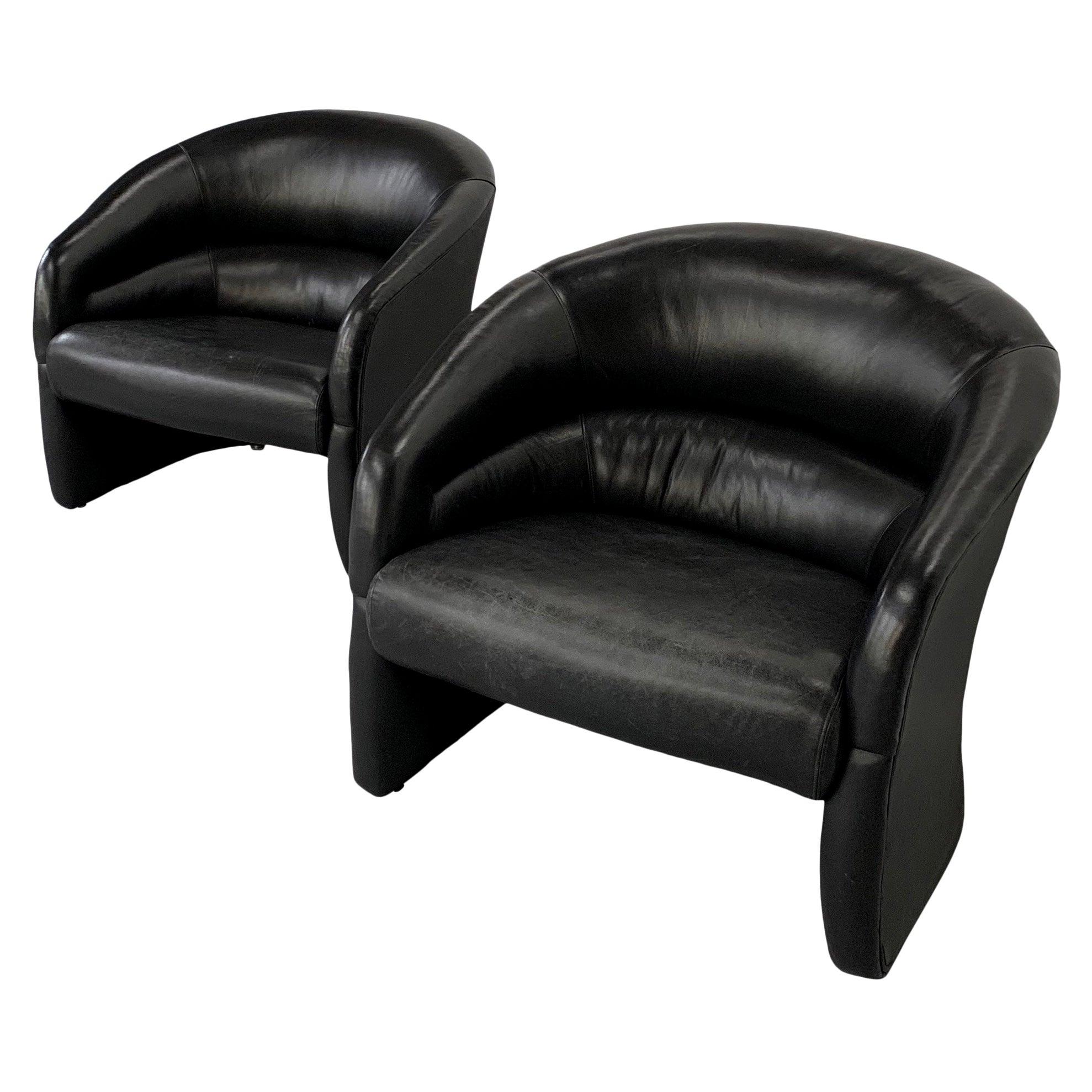 Ward Bennett for Brickel Associates 1970s Leather Barrel Back Club Chairs