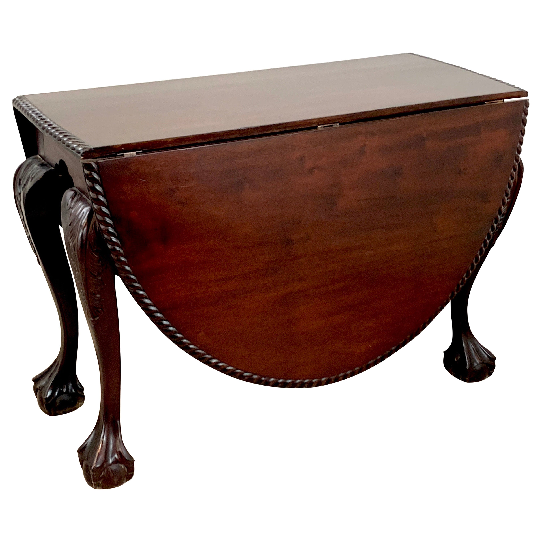 19th Century English Mahogany Ball & Claw Foot Tuck Away Dining Room Table