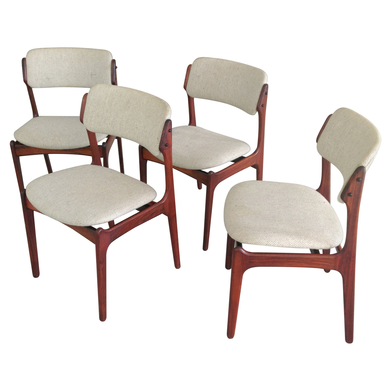 Erik Buch Set of Four Danish Rosewood Dining Chairs by Oddense Maskinsnedkeri