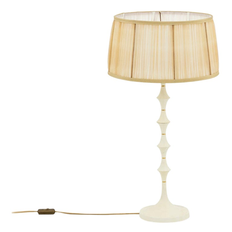 Lamp in White Resin and Gilt Brass, 1970s