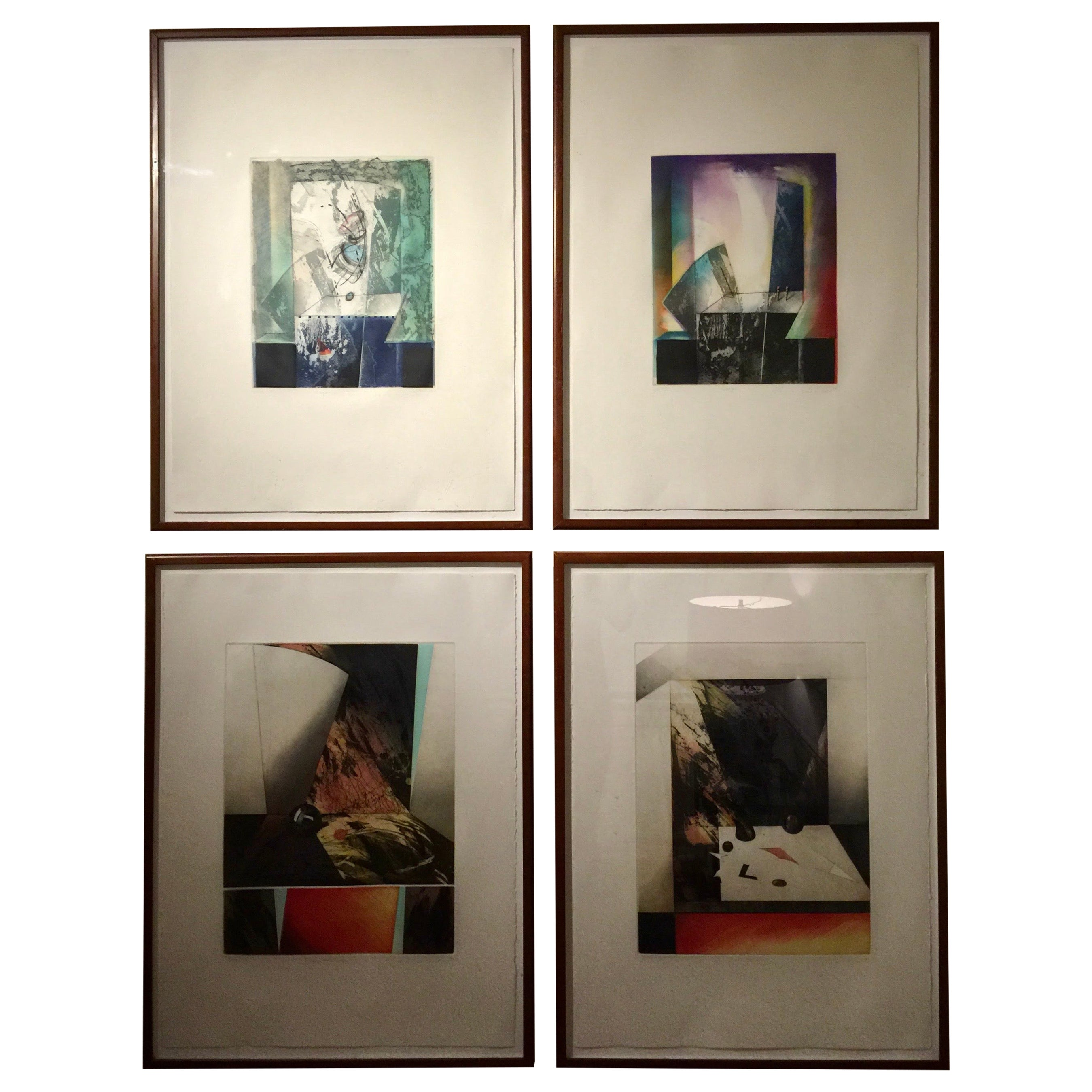 Set of 4 Signed Abstract Intaglio Prints by Kazuko Watanabe, Framed