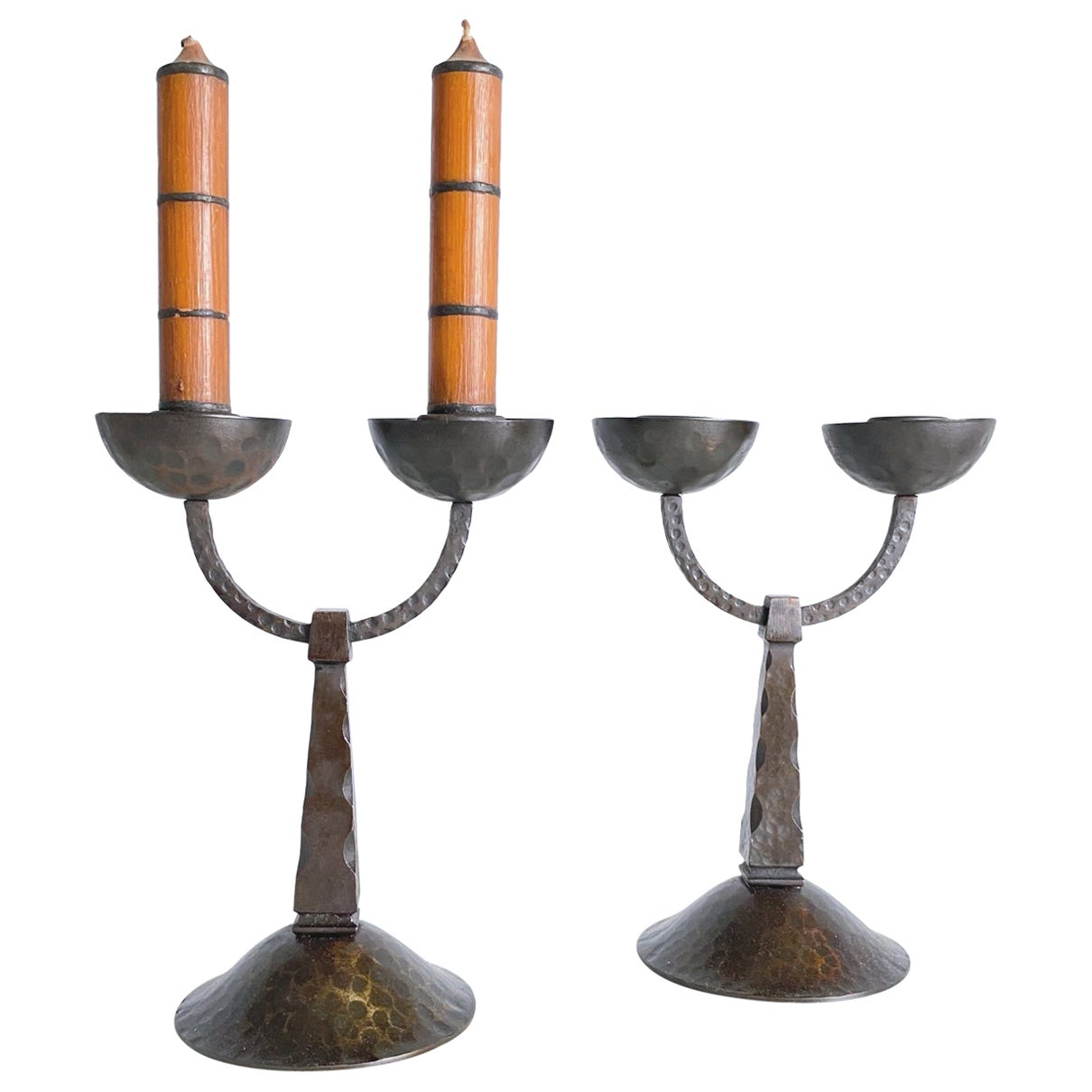 Pair of Midcentury Modern Forged Wrought Iron Candleholder, 1950s, Austria