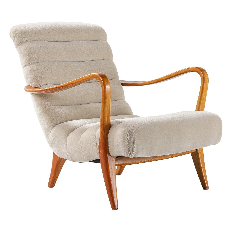 Swedish Midcentury Armchair Reupholstered in Thurstan Mohair