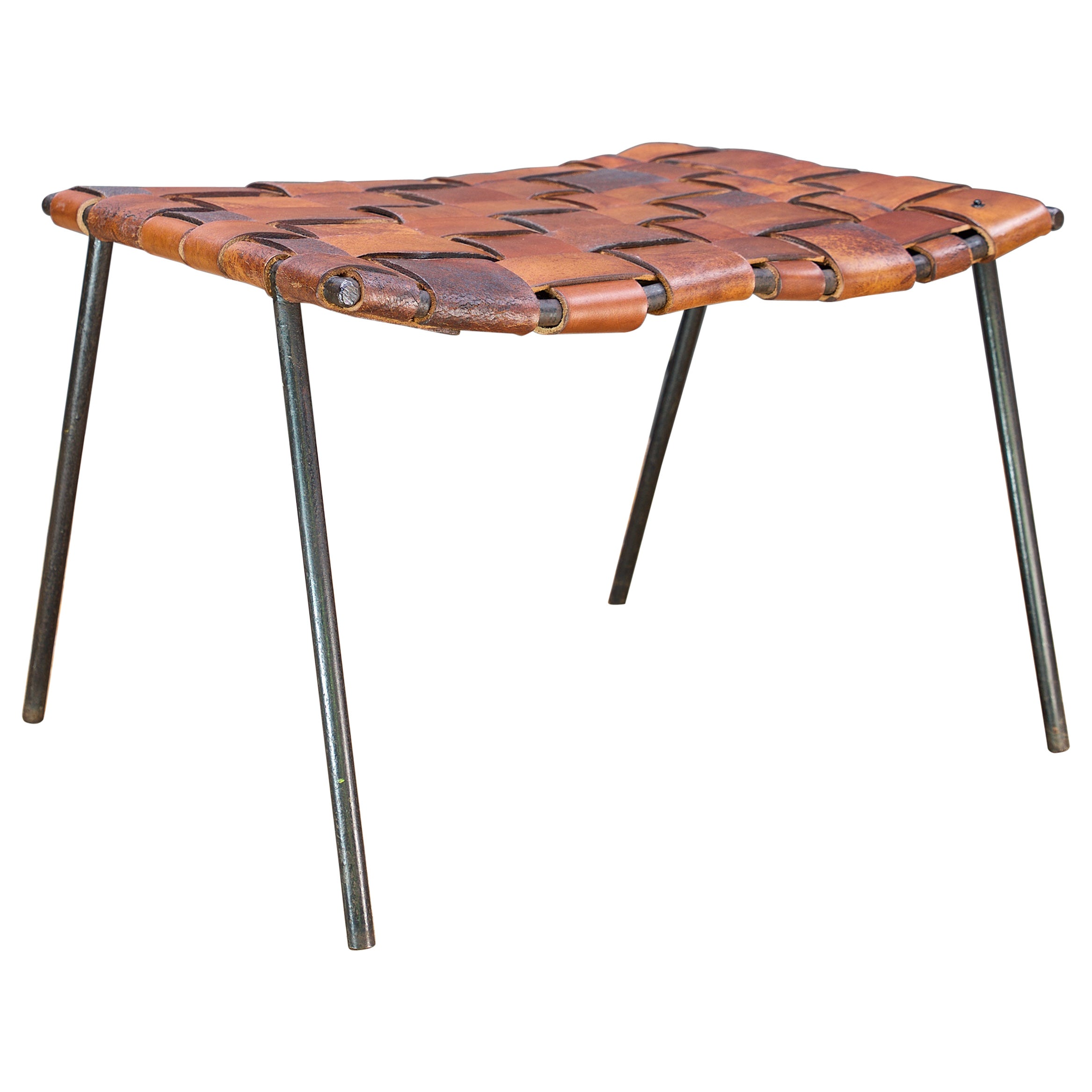 Architectural Studio Craft Iron Woven Leather Cabin Modern Ottoman Stool Bench