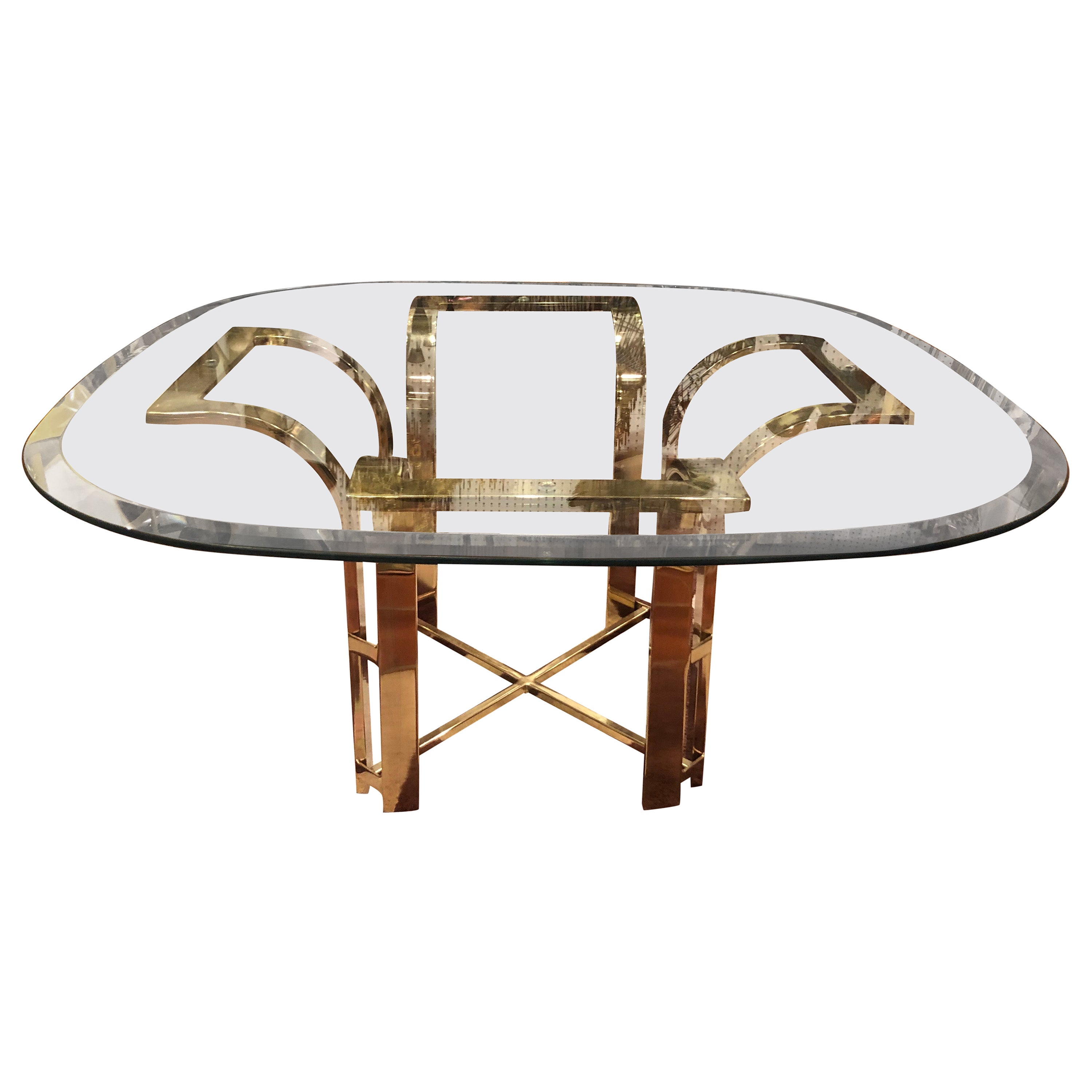 Milo Baughman Style Brass and Glass Coffee Table