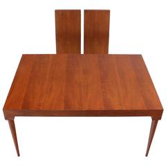 American Mid-Century Modern Teak Dining Table with Two Leaves