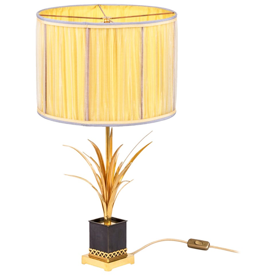 Maison Charles, Reeds Lamp in Gilt Bronze, 1970s