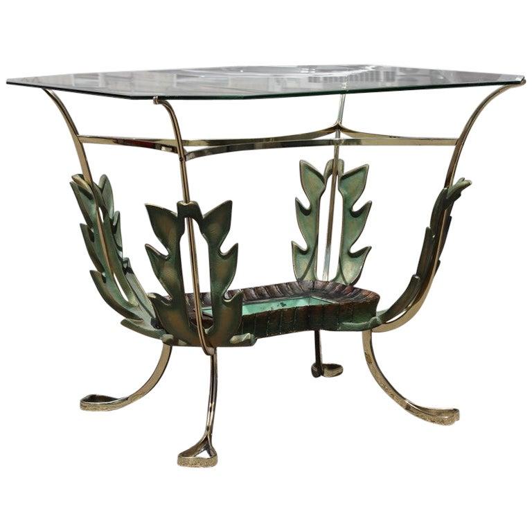 Midcentury Italian Coffee Table Colli Design Green Gold Brass Leaves