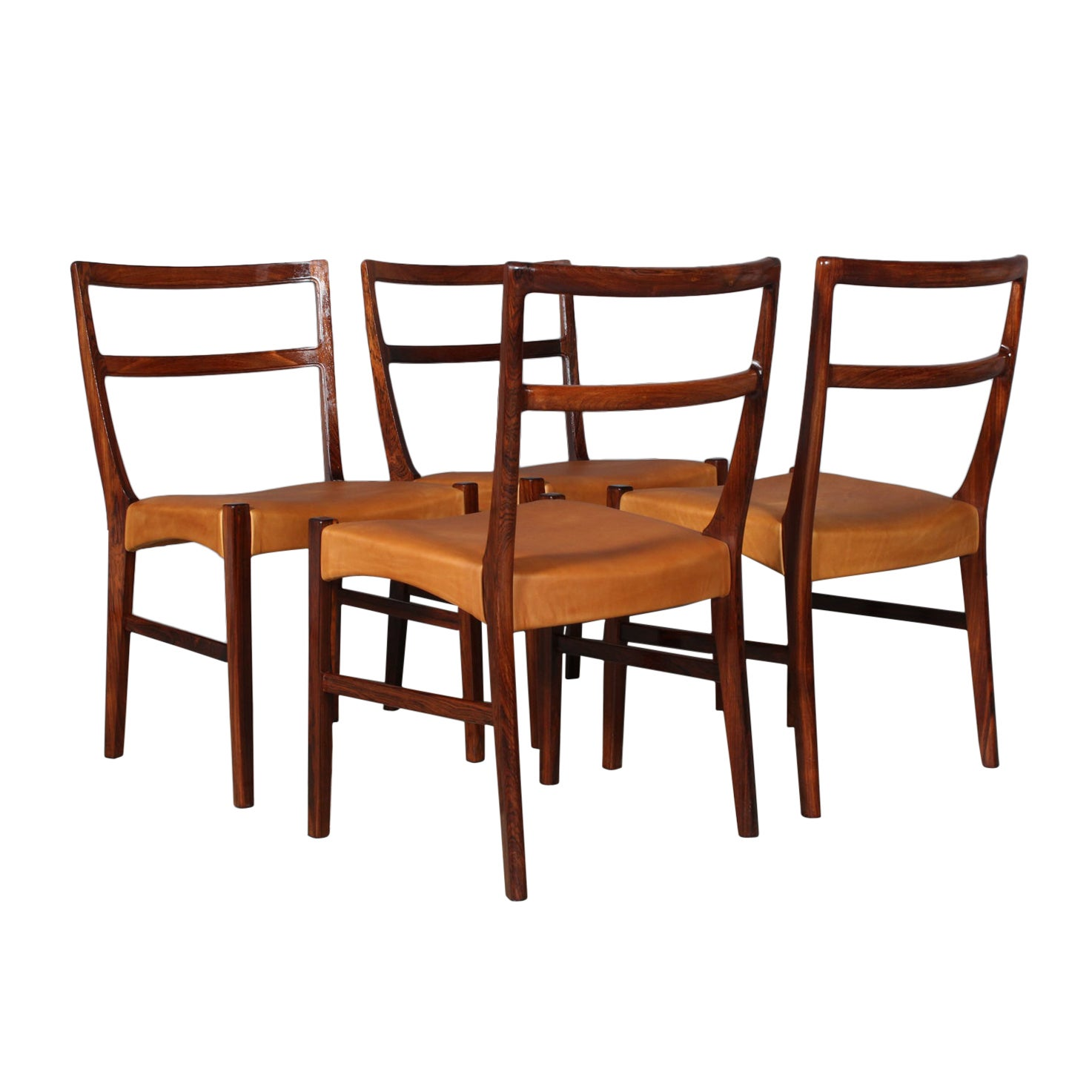 Johannes Andersen four Dining Chairs, Rosewood and Leather Upholstery