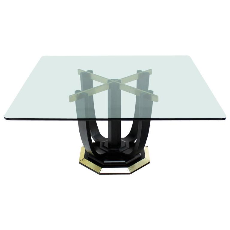 Large Square Glass-Top Black Lacquer Brass Base Dining or Conference Table