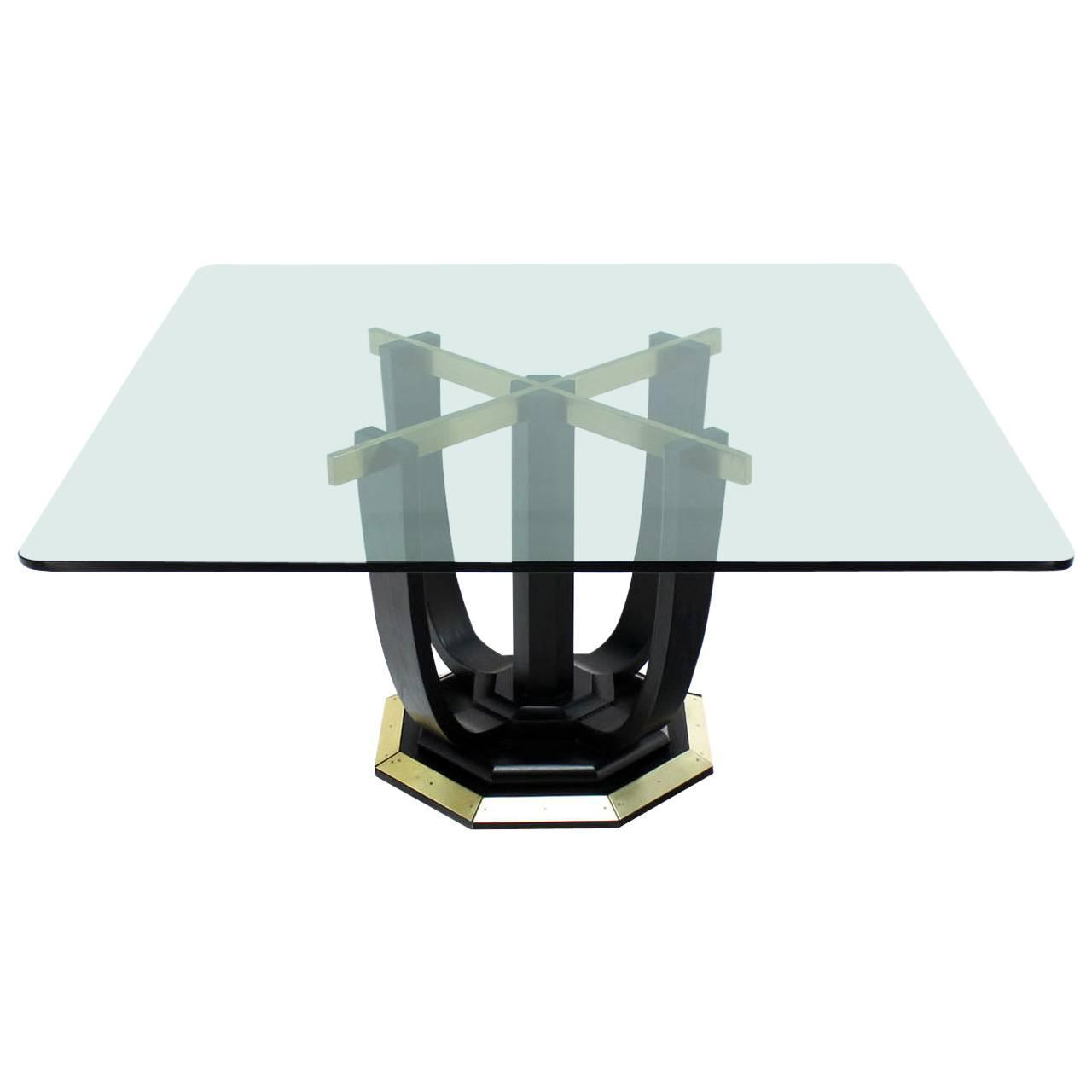 Midcentury Lacquered Vellum Dining Table With Glass Top For Sale At - Glass top conference room table