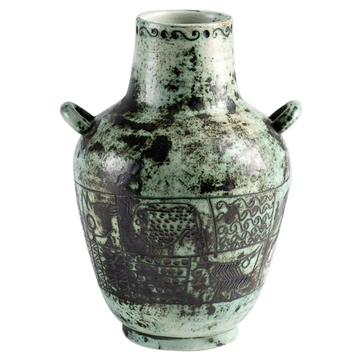 Jacques Blin, Blue Double Handled Ceramic Vase, France, circa 1940s