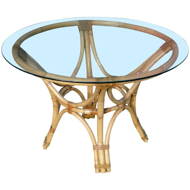 Rattan Bentwood Dining Table With Round Glass Top For Sale At 1stdibs