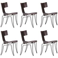 Set of Six Klismos, Leather Anziano Chairs by John Hutton for Donghia