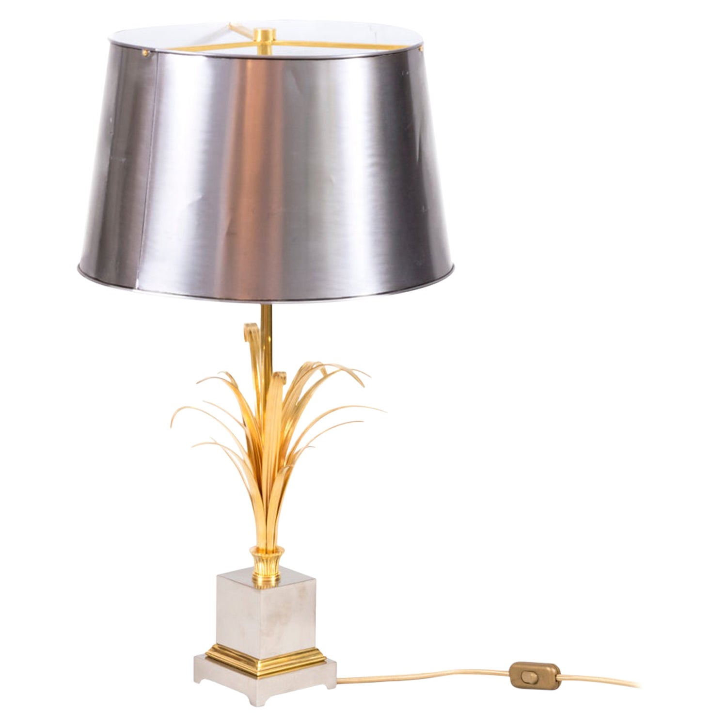 Maison Charles, Reeds Lamp in Gilt and Silvered Bronze, 1970s