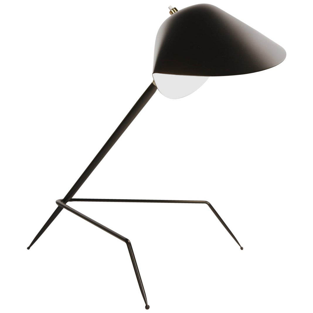 Serge Mouille Mid-Century Modern Black Tripod Lamp
