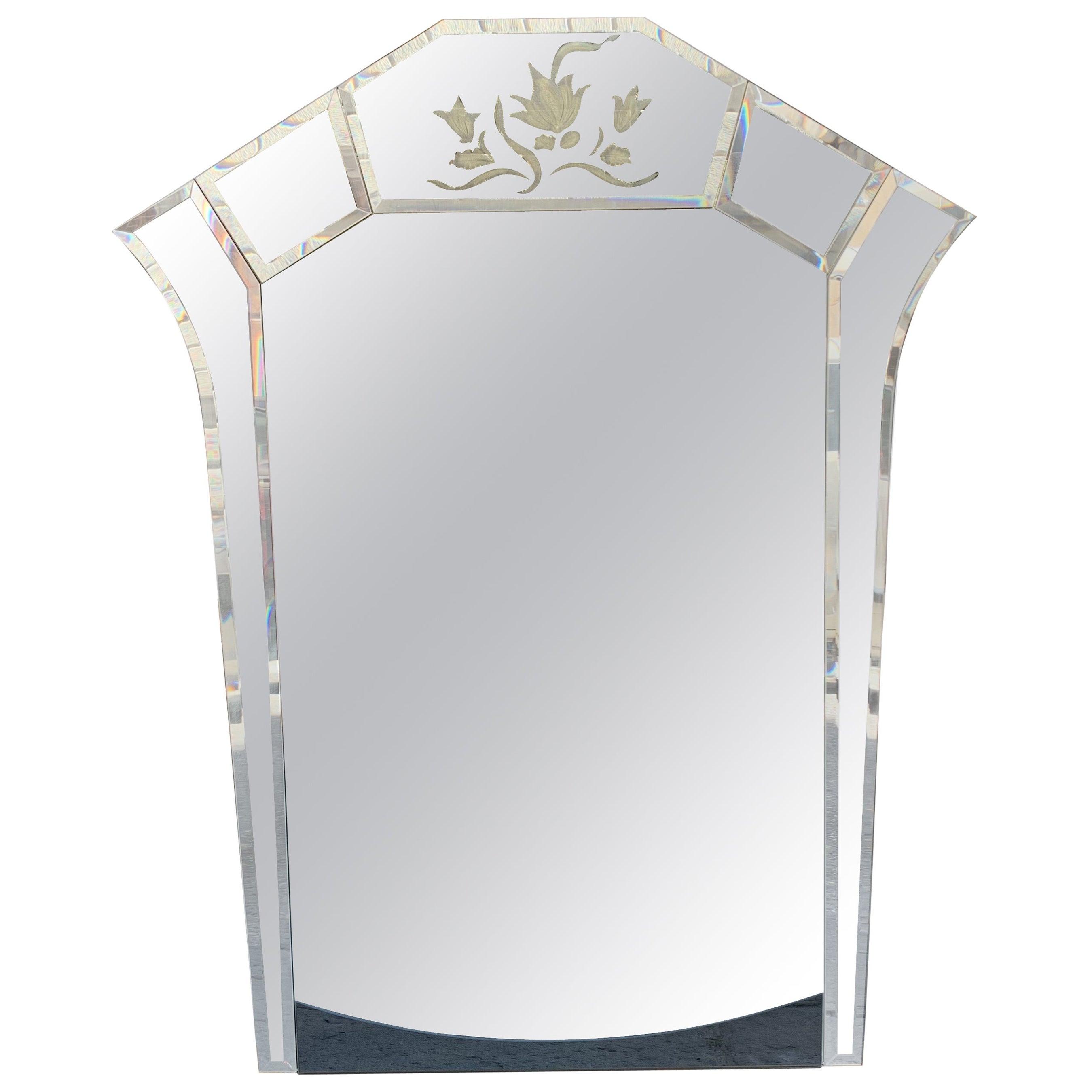 Art Deco Mercury Ground Glass Mirror with Engravings, 1940s