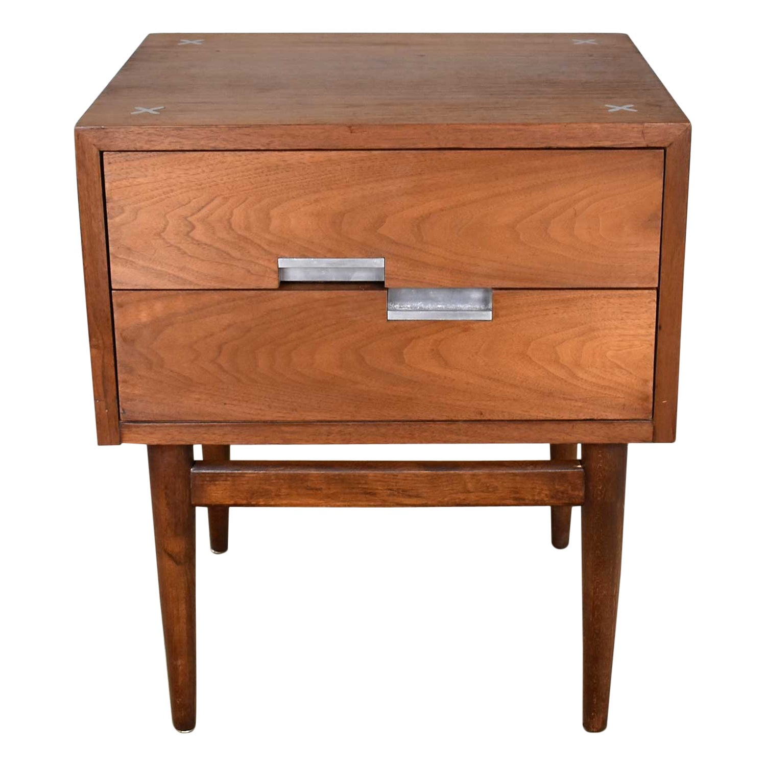 American of Martinsville Accord Walnut Nightstand or End Table with X's