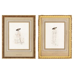 Pair of Frames with Fashion Portraits by Desgranges, 1920s