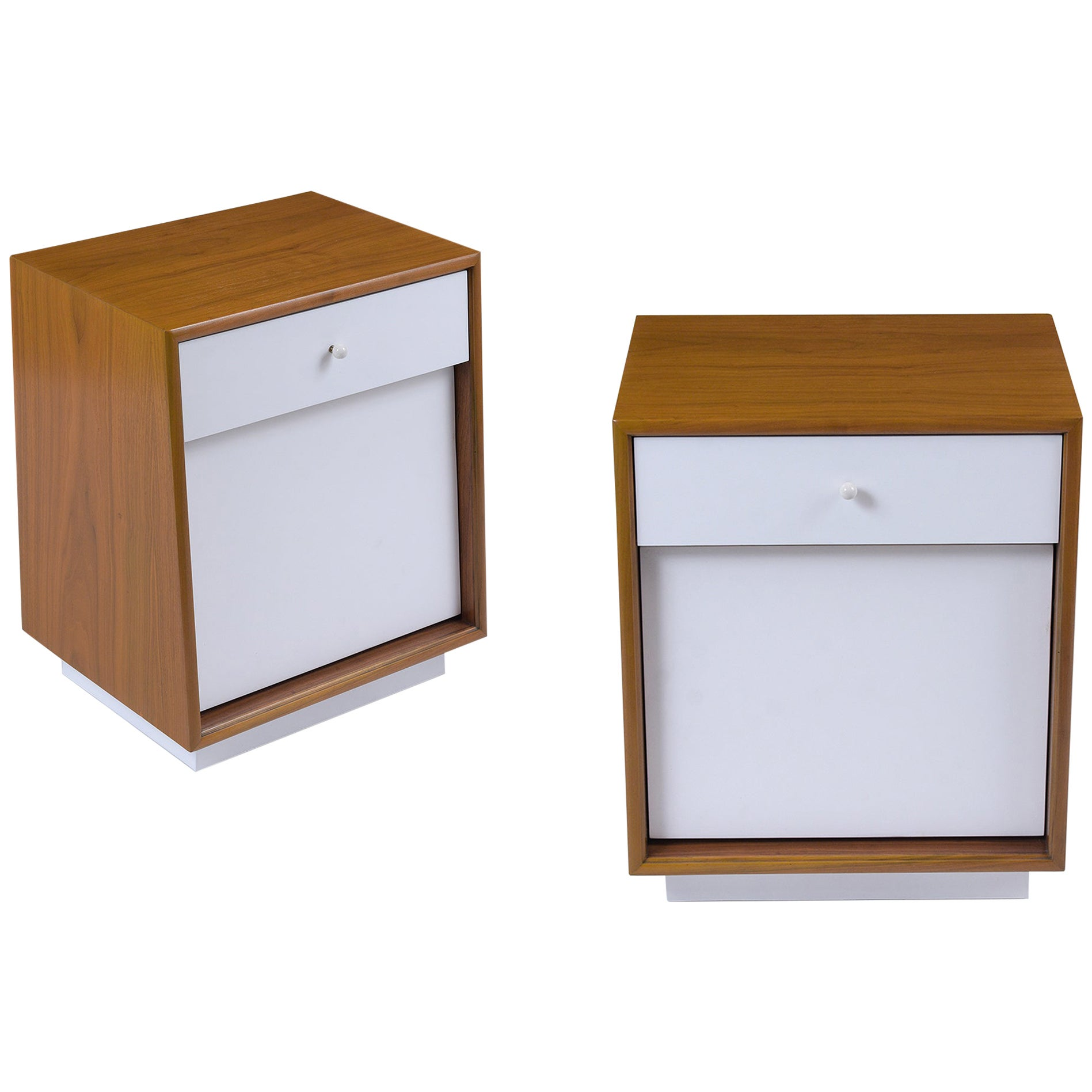 Pair of Lacquered Mid Century Modern Nightstands