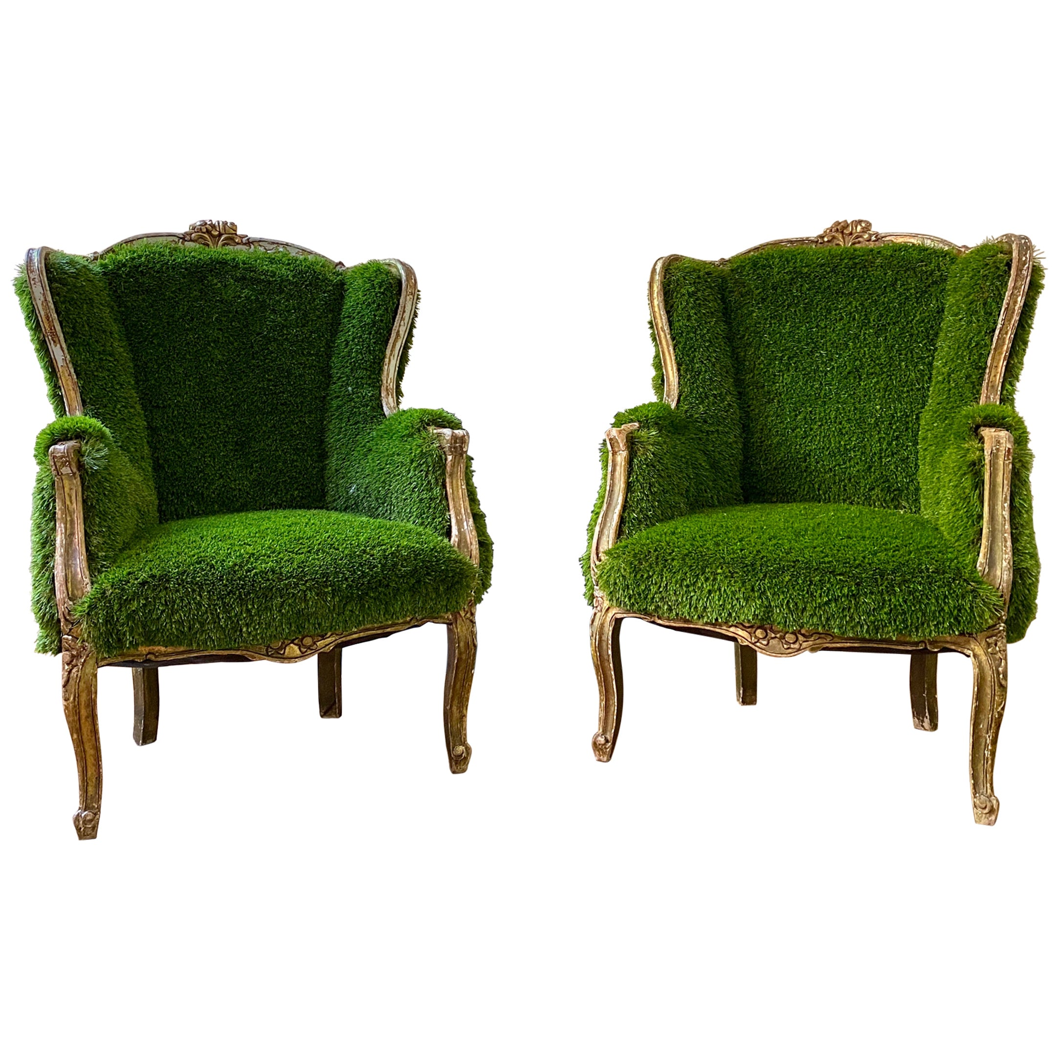 Pair of French Bergère Louis XV Style Chairs Re-Upholstered in Faux Grass