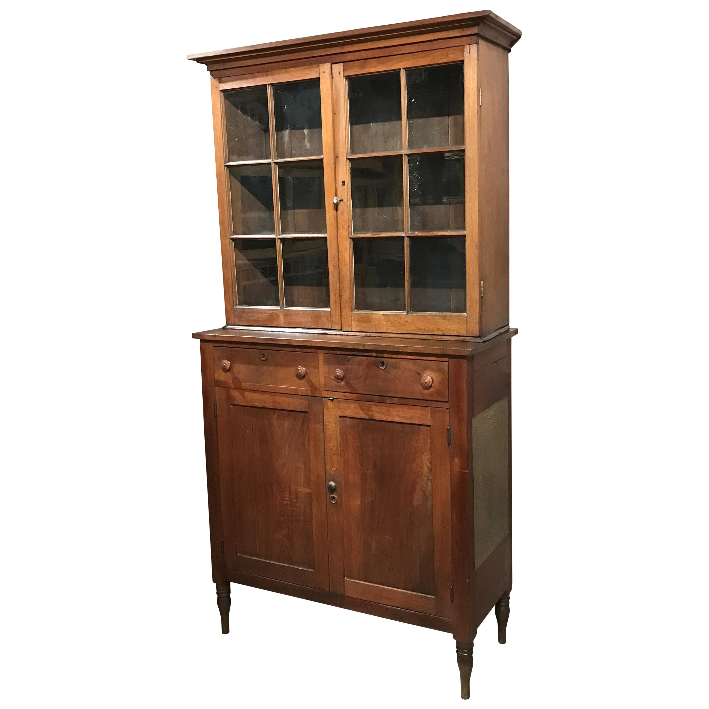 Rare Early 19th Century Two Part Step Back Walnut Pie Safe Cupboard