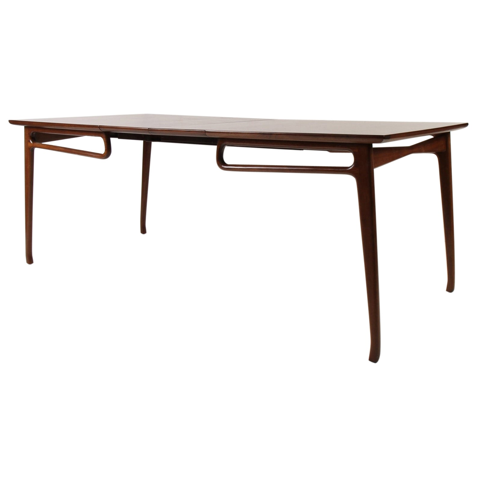 Mid-Century Modern Walnut Extension Dining Table