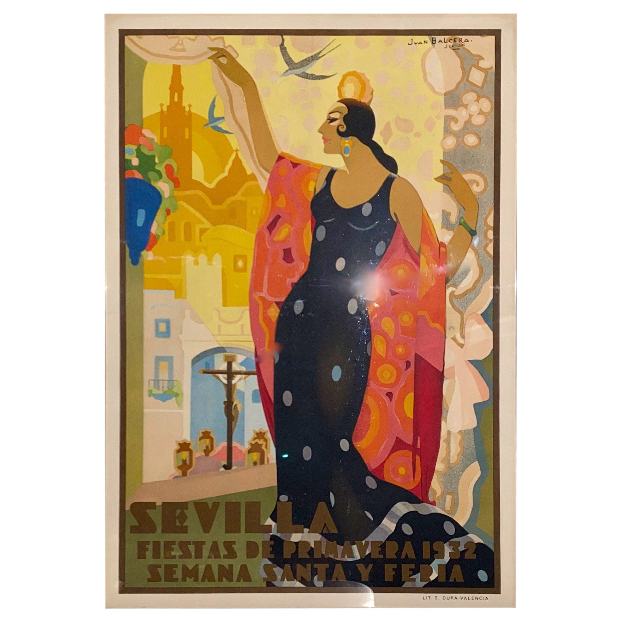 Juan Bacera's Fiesta De Primavera 1932 Art Deco Lithographic Poster