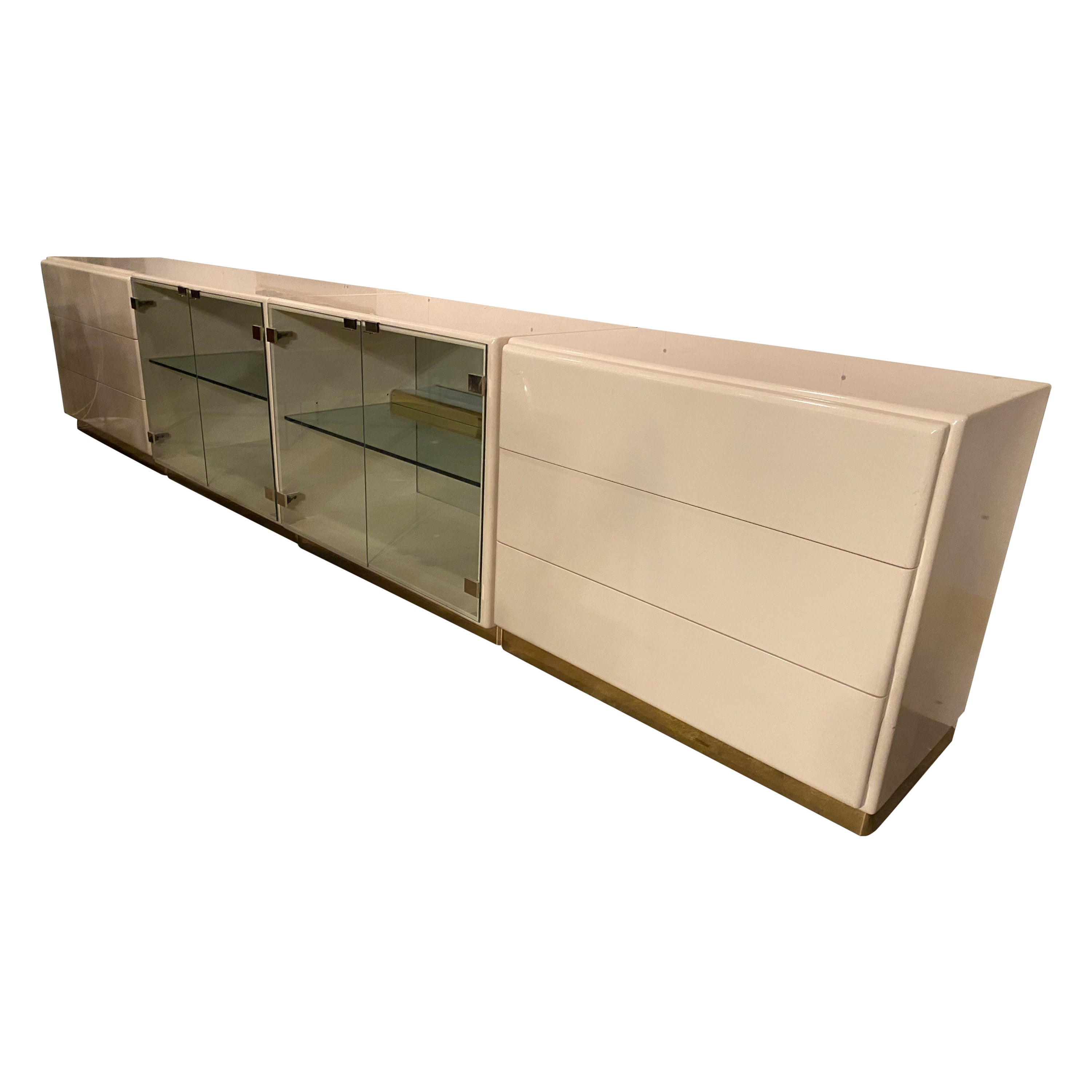 Vintage 1970s Ivory Lacquered Credenza by Milo Baughman for Thayer Coggin