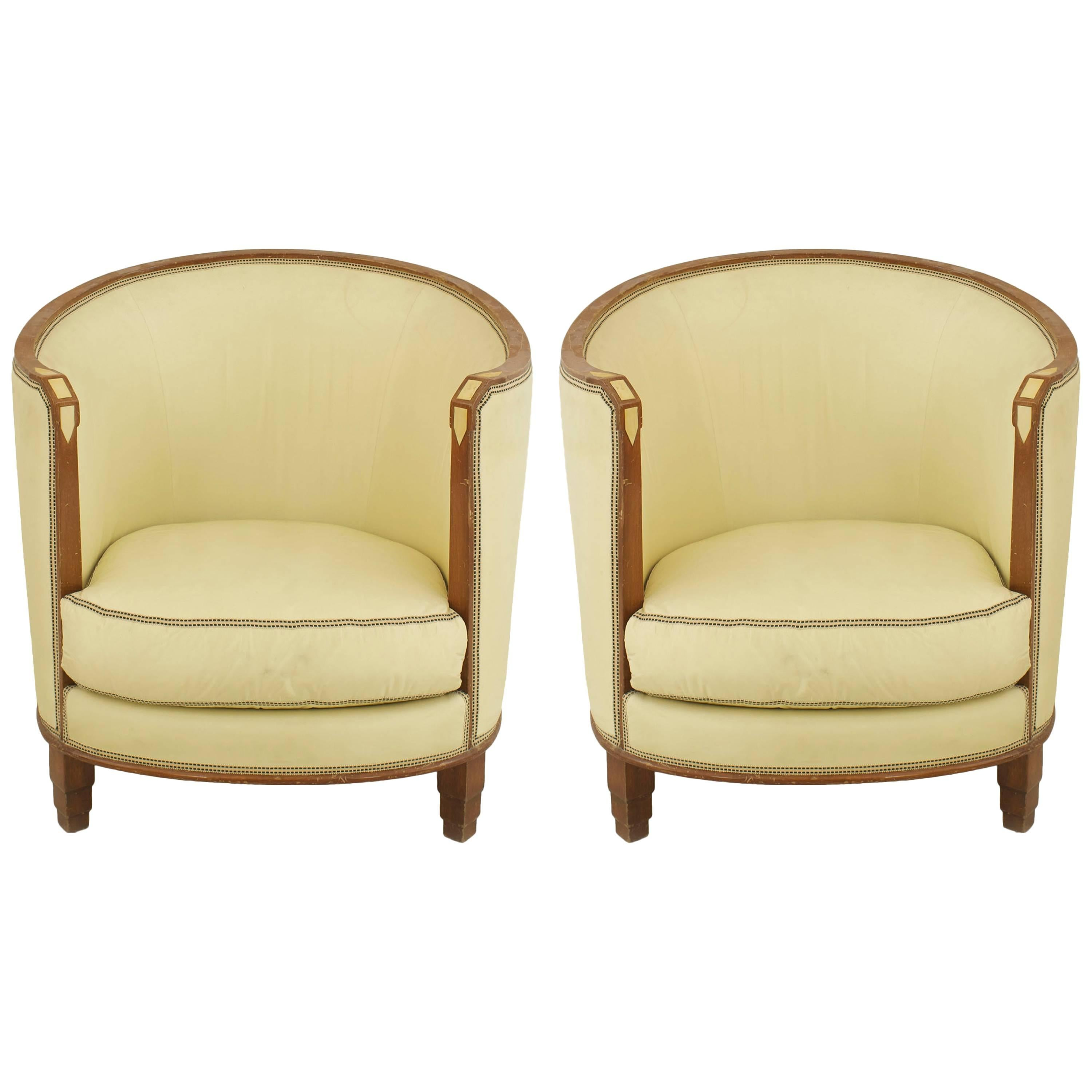 Pair of French Art Deco Walnut Armchairs