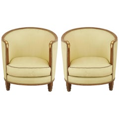Pair of French Art Deco Bone Inlaid Mahogany Barrel Back Armchairs