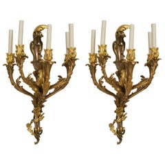 Turn of the Century French Louis XV Style Gilt Bronze Sconces