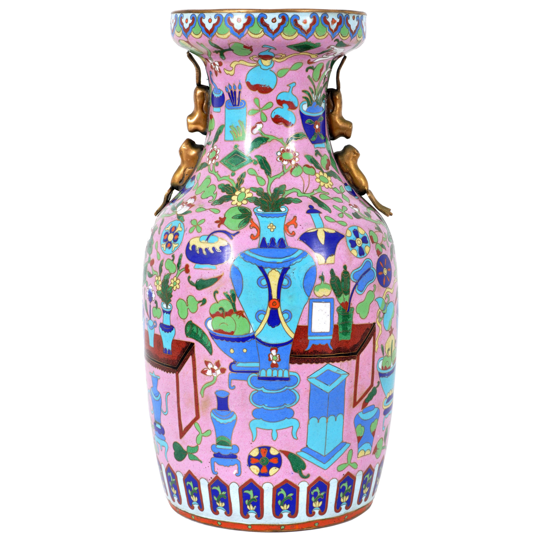 Large Antique Chinese 'Hundred Treasures' Cloisonne Vase Republic Period 1920