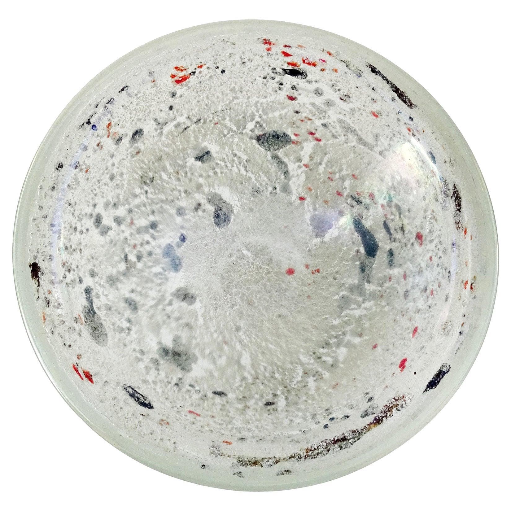 Dino Martens Aureliano Toso Murano Iridescent White Gray Italian Art Glass Bowl