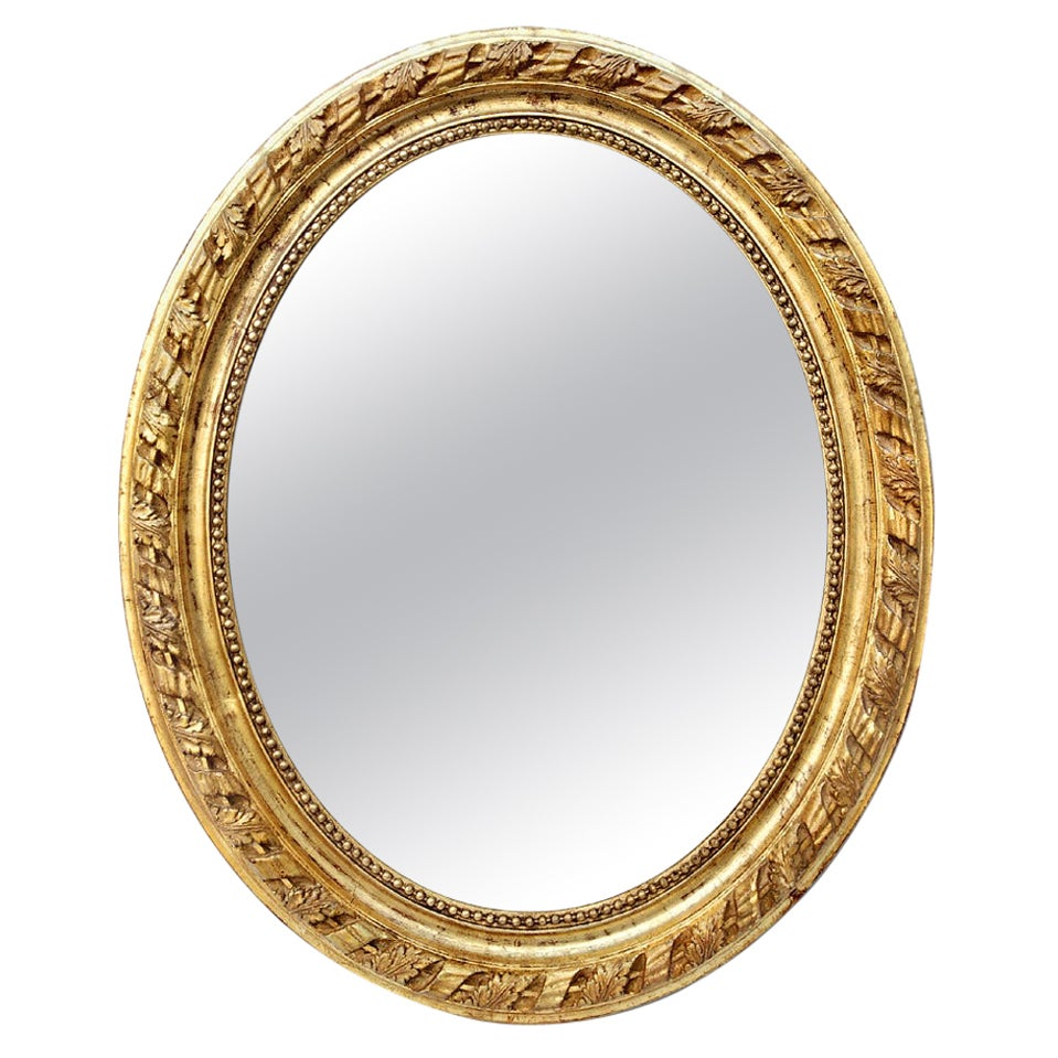 Large Antique French Oval Giltwood Mirror, Napoleon III Style, circa 1860