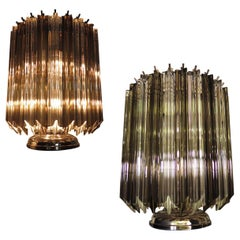 Pair of Table Lamps, 24 Transparent and Smoked Quadriedri, Murano, 1990s