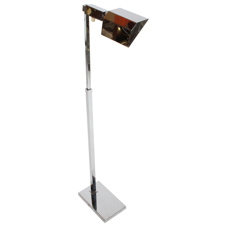 Mid-Century Modern Casella Chrome Adjustable Floor Reading Lamp