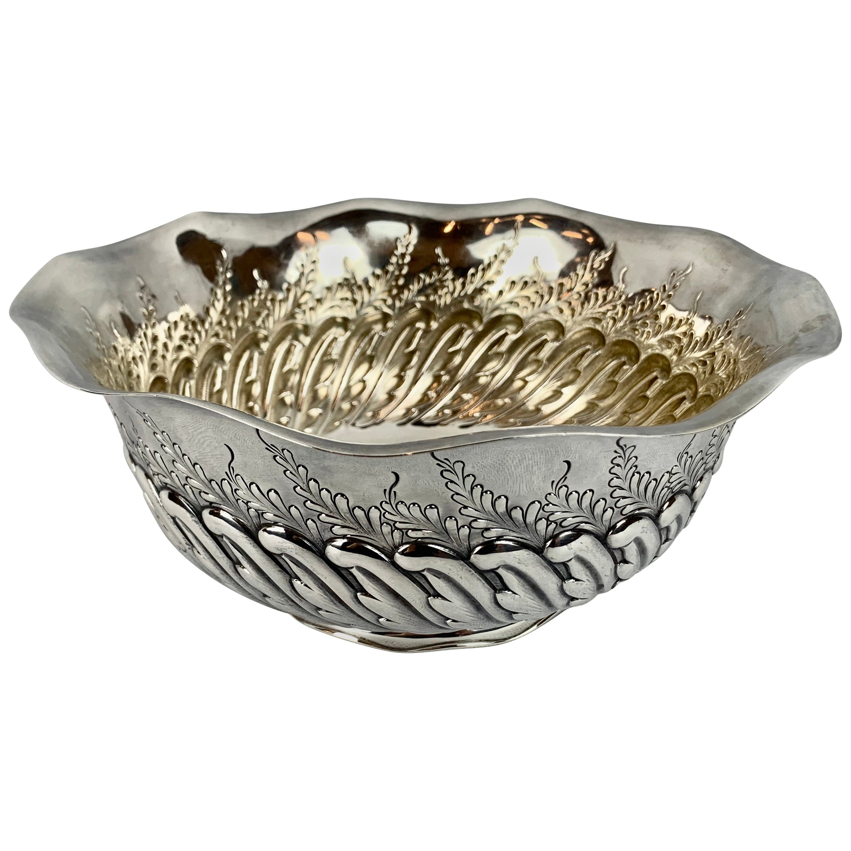 """Sterling Silver Repoussé Bowl by Bailey, Banks and Biddle-9.5"""" Diameter"""