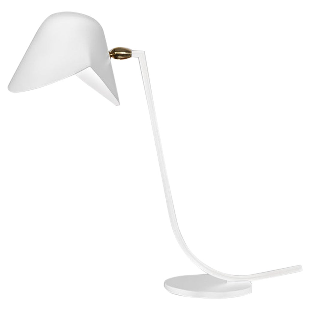 Serge Mouille Mid-Century Modern White Antony Table Lamp