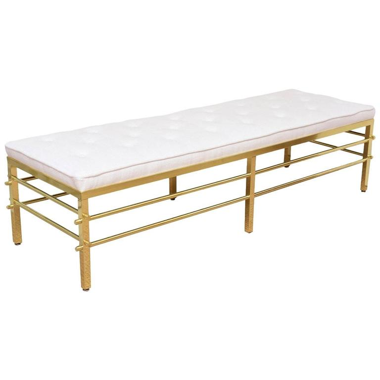 Tommi Parzinger Style Solid Brass and Upholstered Modernist Bench