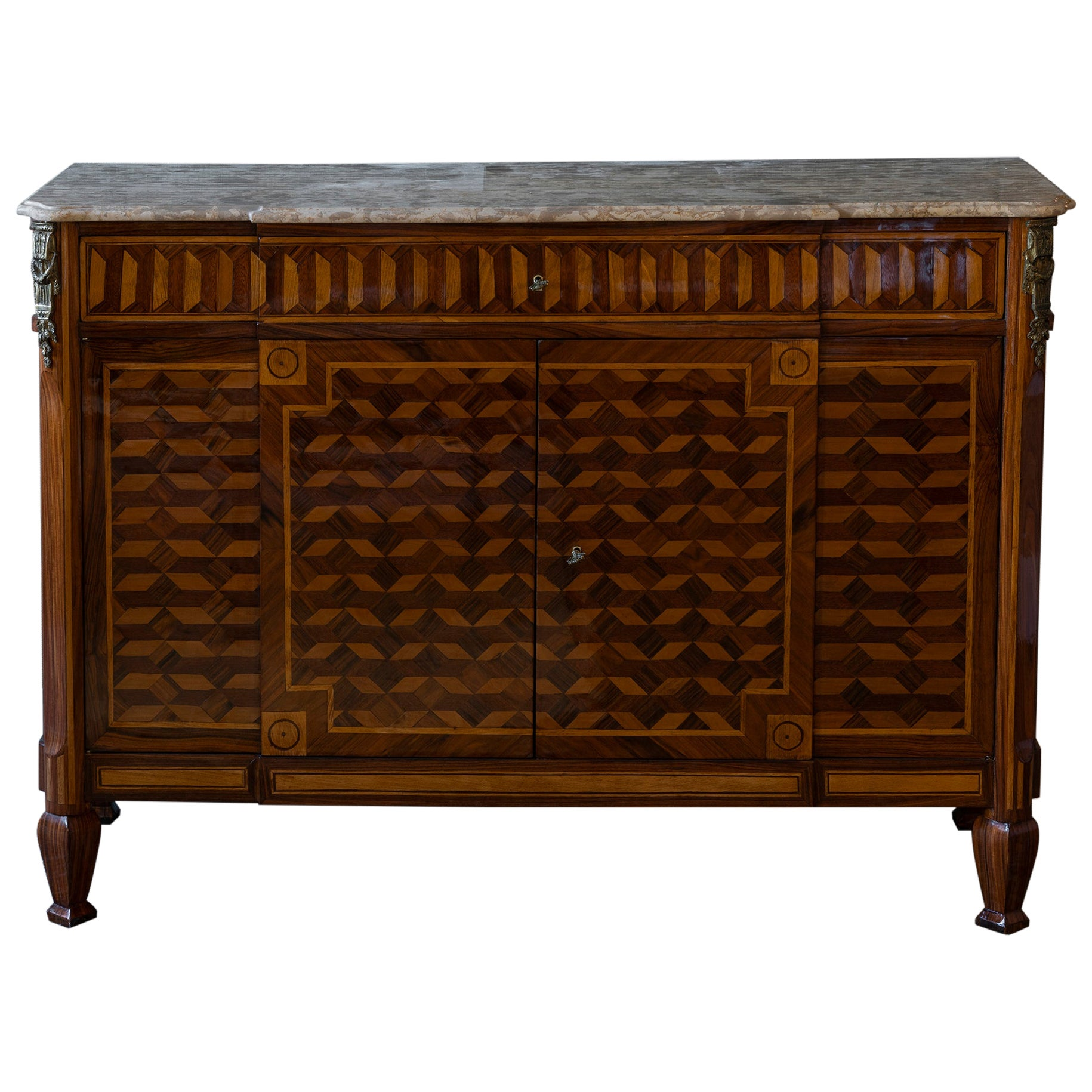 Late 19th Century Louis XV Style Marquetry French Credenza Marble Top, France