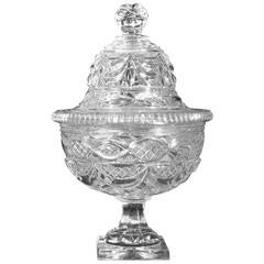 Monumental Clear Cut-Glass Covered Compote