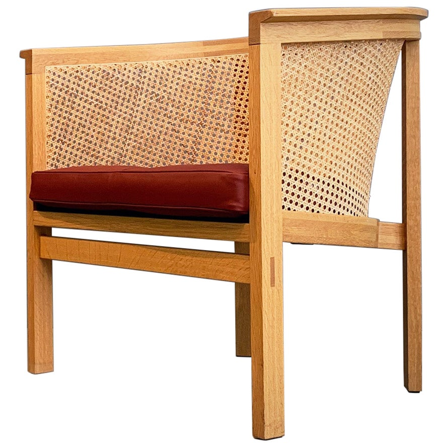 Rud Thygesen Easy Arm Chairs King Series Botium 1970s Cane Oak Leather