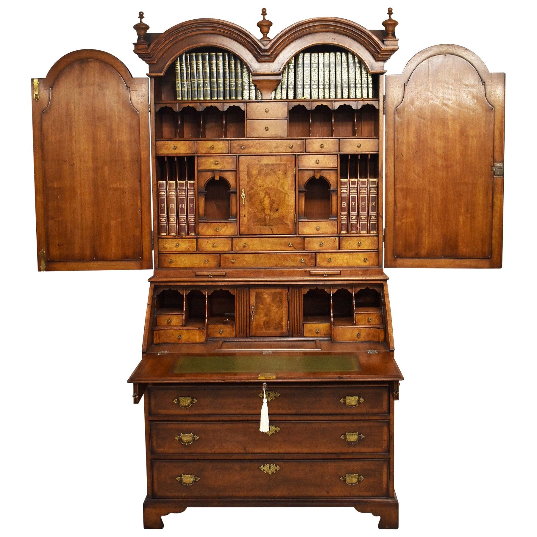 19th Century English George III Burr Walnut Bureau Bookcase