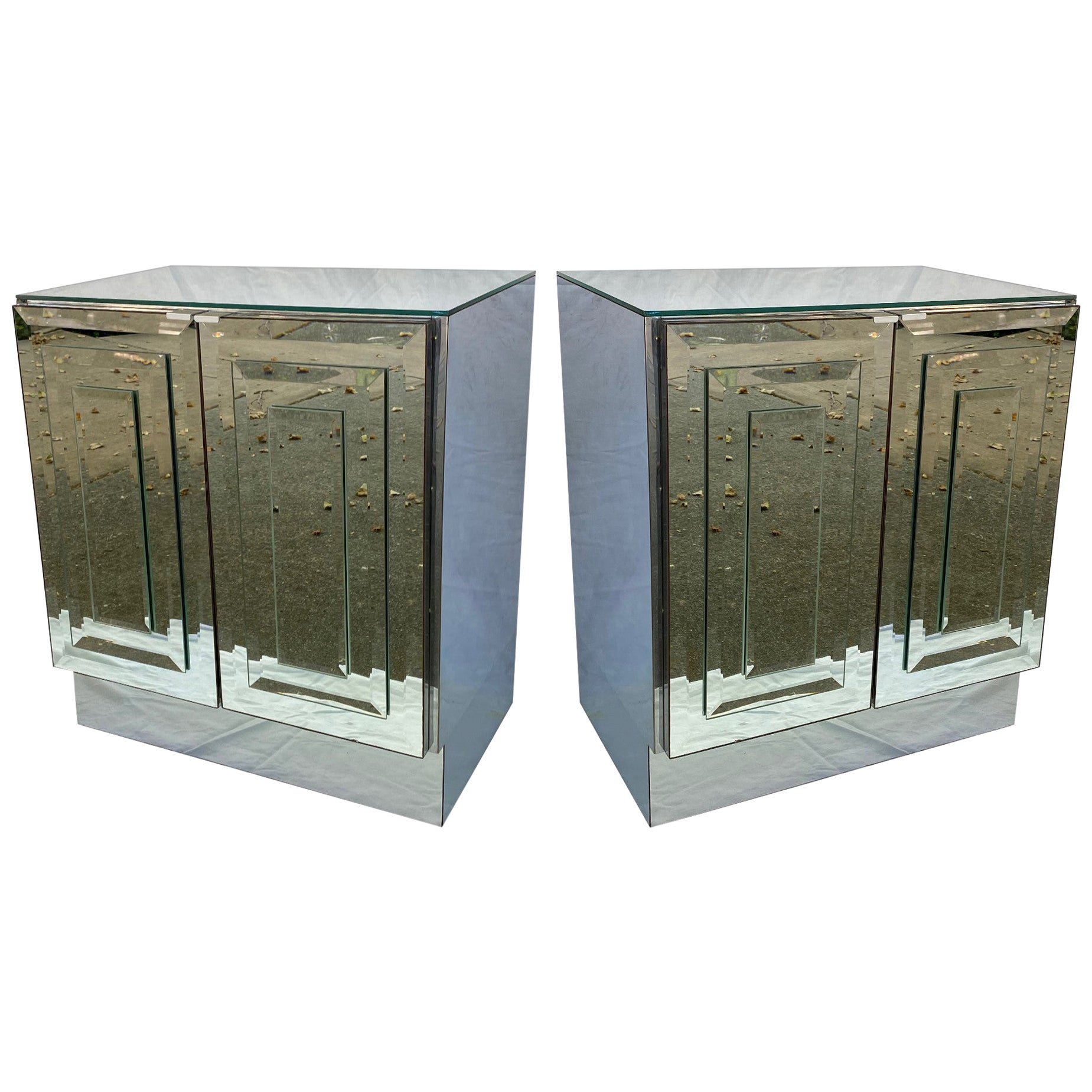 Pair of Mirrored Cabinets or Nightstands by Ello Furniture