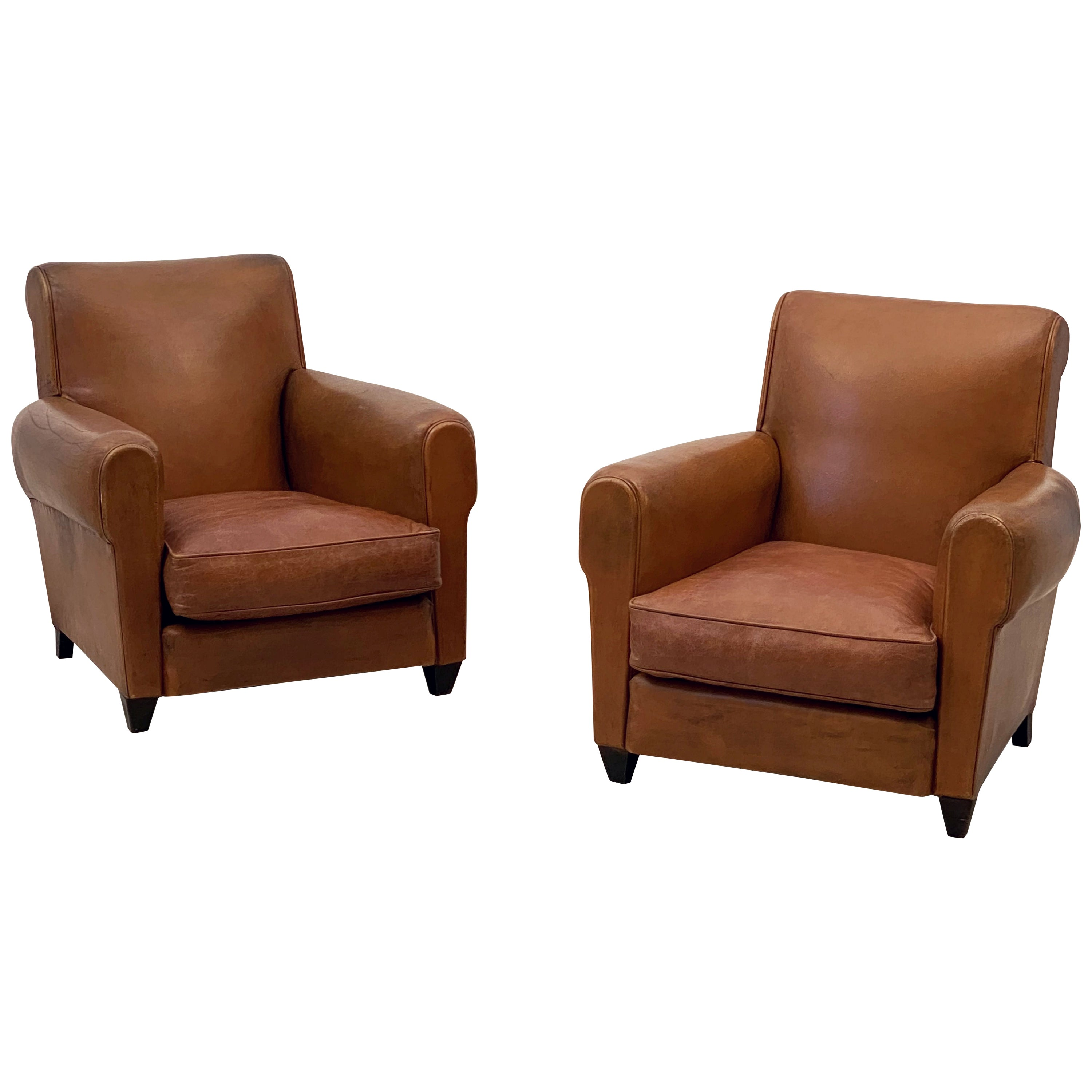 Pair of French Art Deco Leather Club Chairs 'Priced Individually'