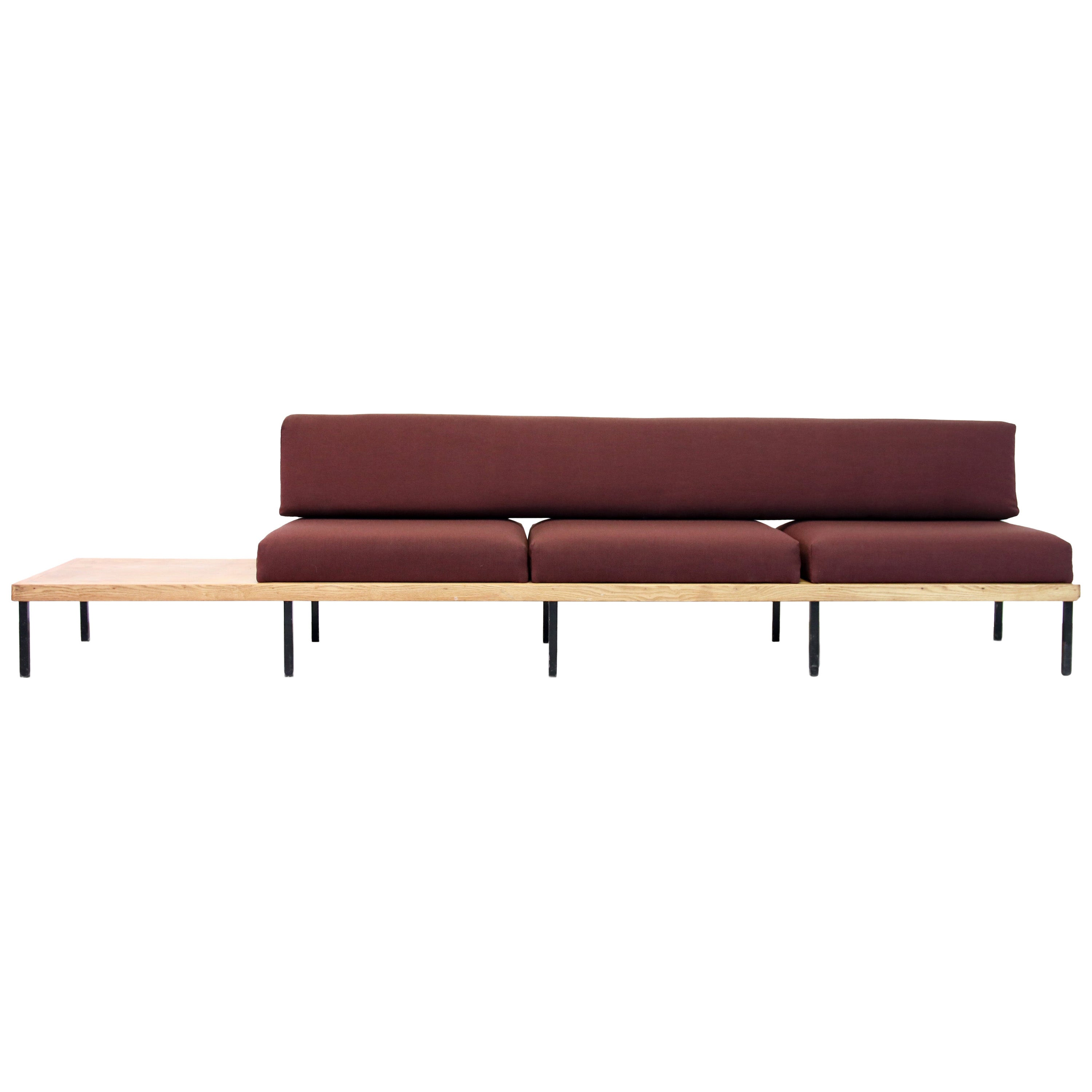 Minimalist Oak Wooden Design Bench Sofa with integrated table