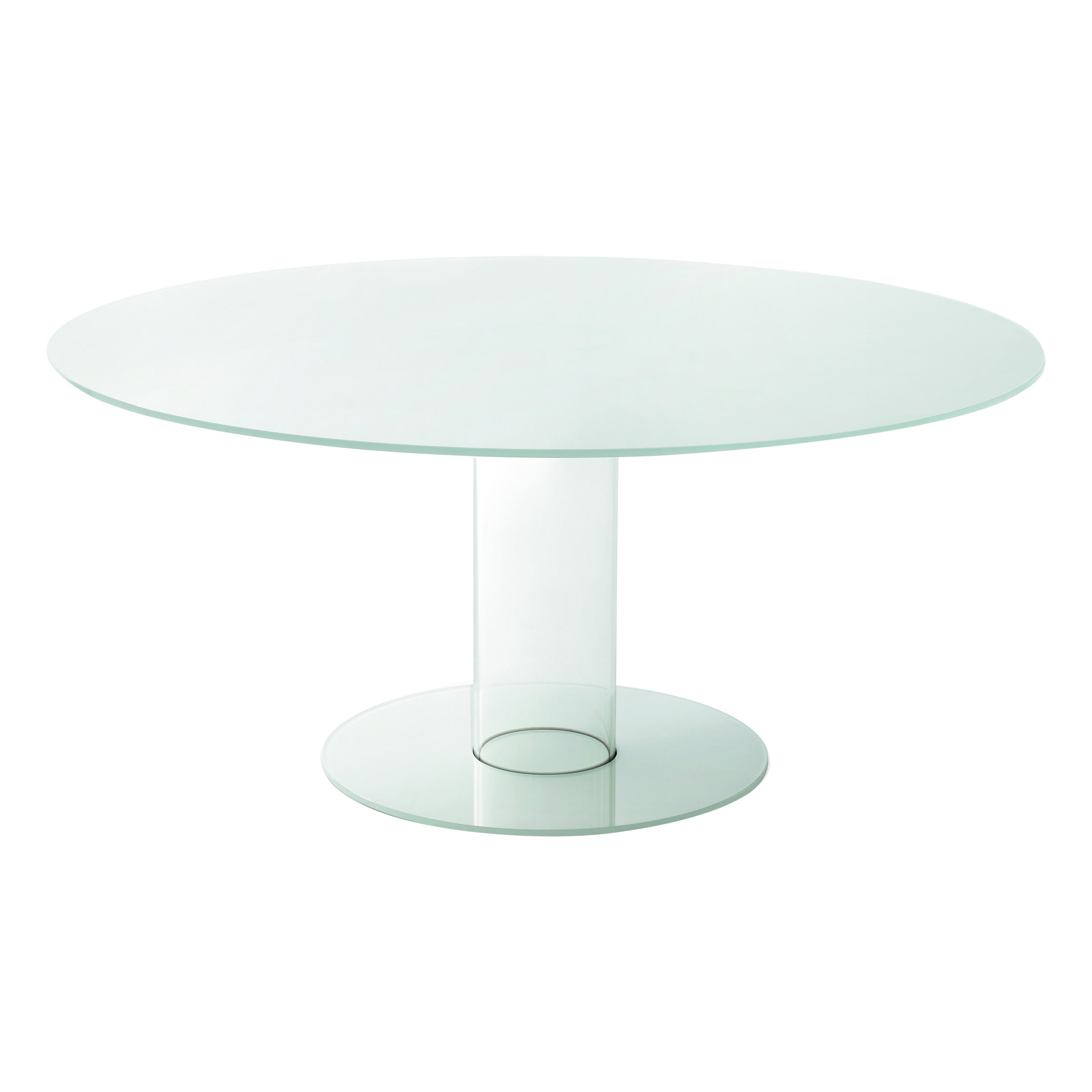 Hub Medium High Table in White Opaque Glass, by Piero Lissoni from Glas Italia