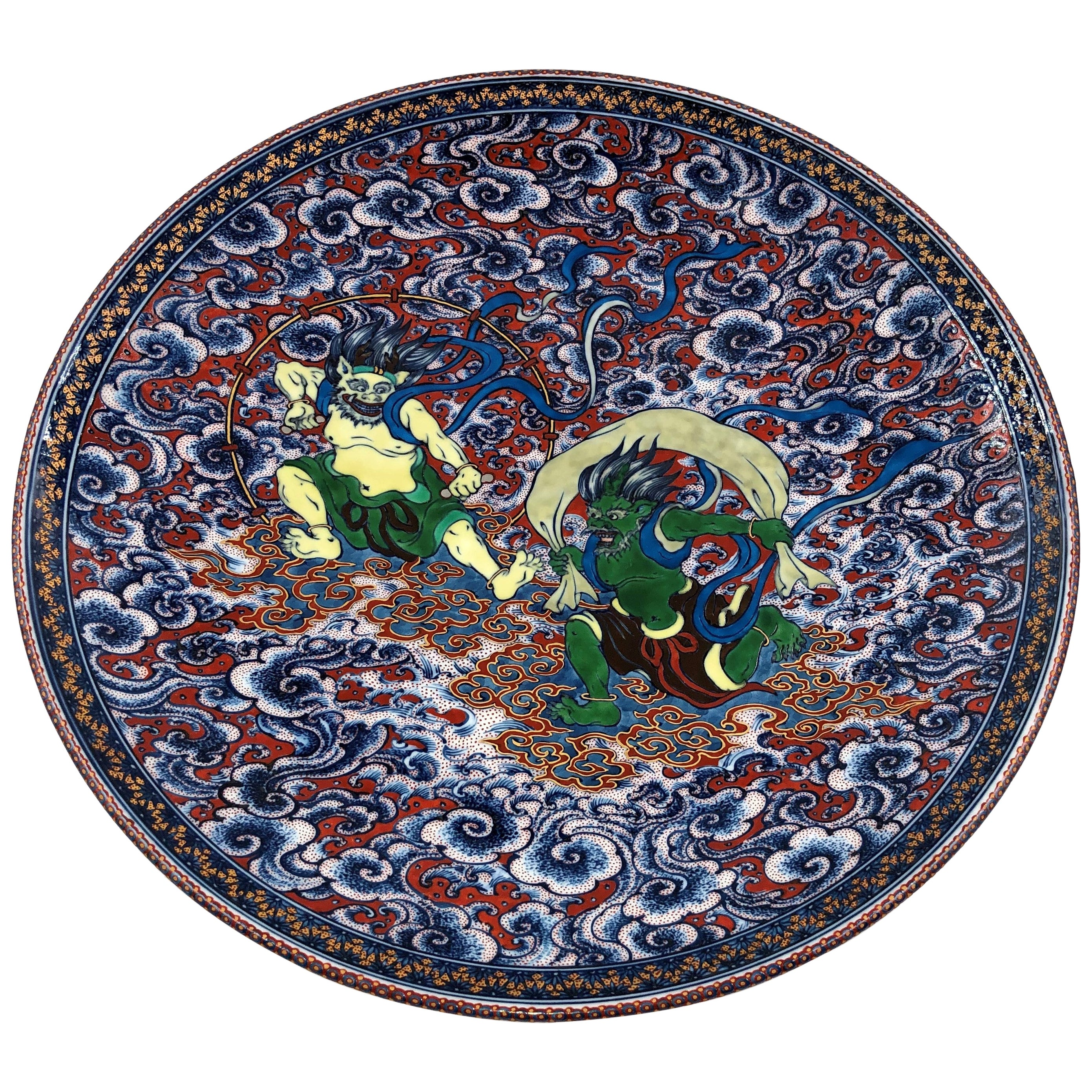 Green Blue Red Deep Charger by Japanese Duo Master Artists