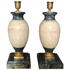 Pair of Blue John Marble Lamps